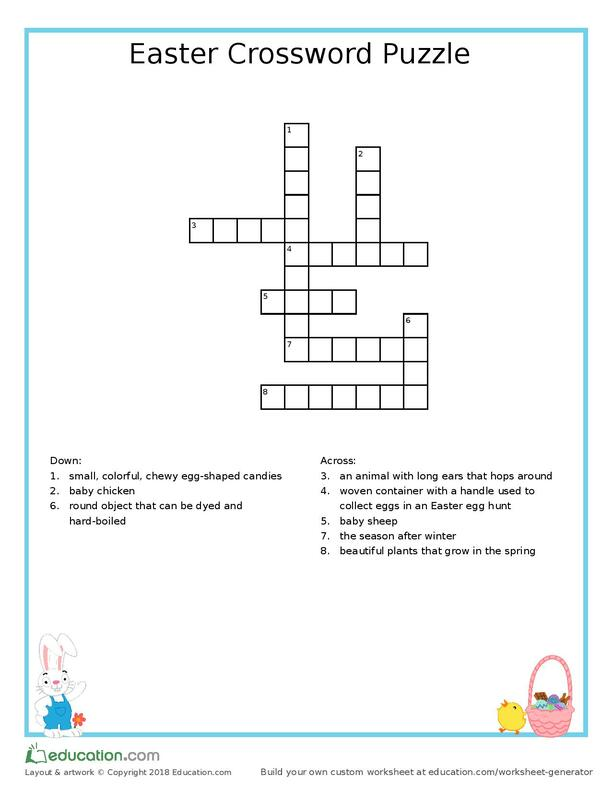 An Easter Crossword Puzzle For Your 1st Grader